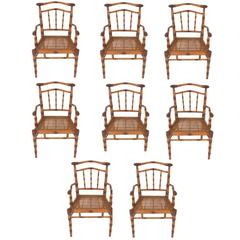 Vintage Set of Eight Carved Wood Chairs
