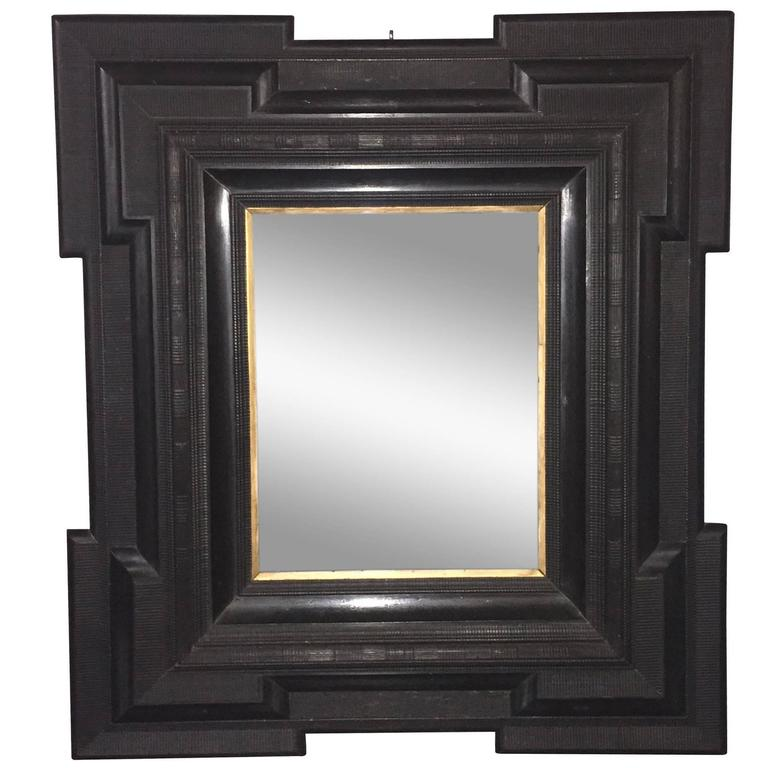 large black framed mirror dutch 19th century for sale at