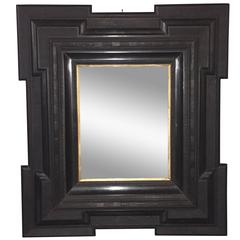 Large Black Framed Mirror, Dutch, 19th Century