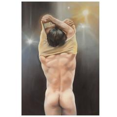 Nude Male Pastel by Beverly Lopez
