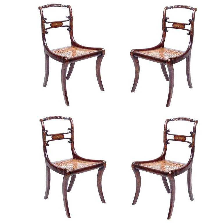 Set of Four 19th Century Regency Rosewood Cane Chairs with Brass Inlay