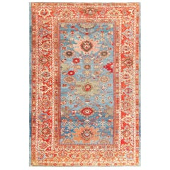 Antique Blue Background Persian Sultanabad Rug