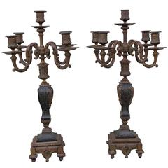Pair of Antique French Boulle Candelabras