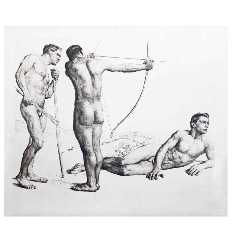"""""""Three Archers,"""" Large and Important Etching w/ Male Nudes by Wolfsfeld"""