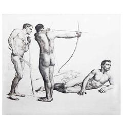 """Three Archers,"" Large and Important Etching w/ Male Nudes by Wolfsfeld"