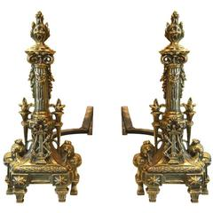 Antique Polished Brass Andirons