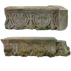 Pair of Large Early 18th Century Architectural Stone Fragments