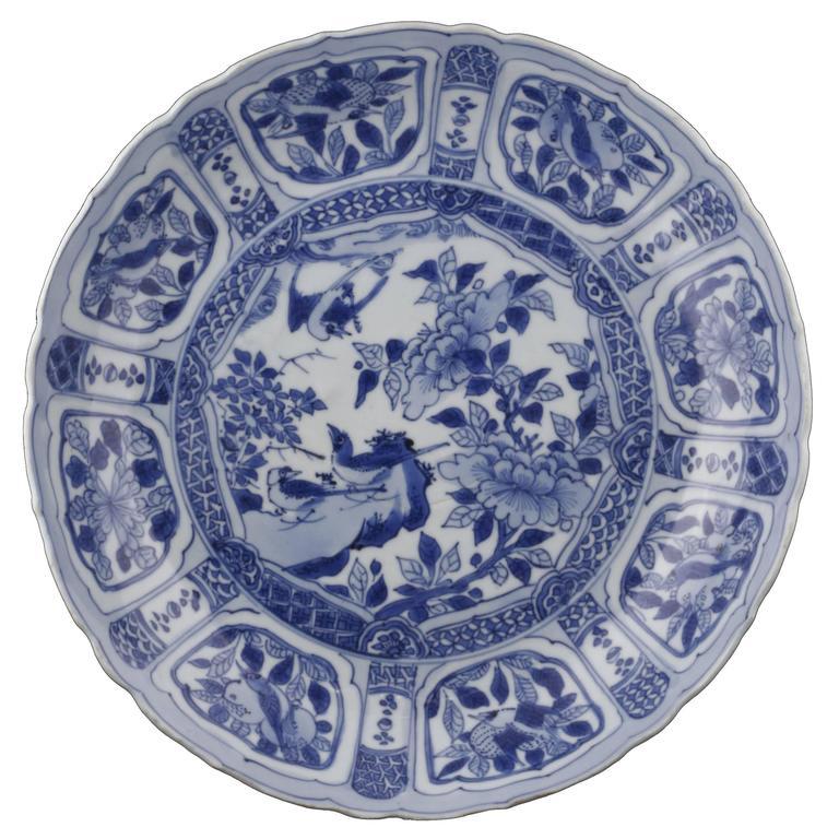 Wan Li Period, Porcelain Round Dish of China in Blue
