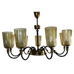 Stunning and Large Mid-Century Nine-Light Chandelier