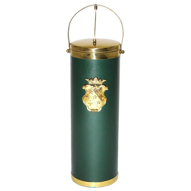 Mid Century Modern Green and Brass Wine Cooler, circa  1950, Italy For Sale