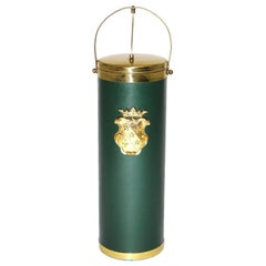 Mid Century Modern Vintage Green and Brass Wine Cooler, circa  1950, Italy