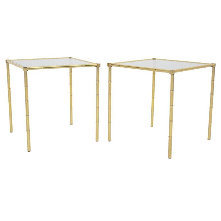 Brass Faux Bamboo Side Tables, 1960s France Set of two