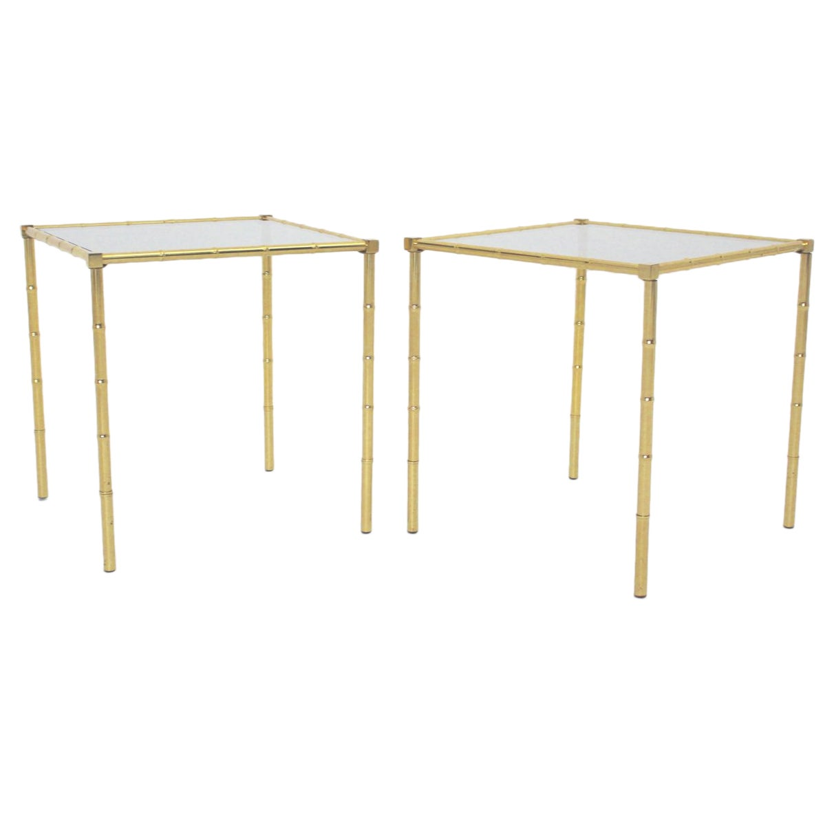 Mid Century Modern Vintage Brass Faux Bamboo Side Tables 1960s France Set of two