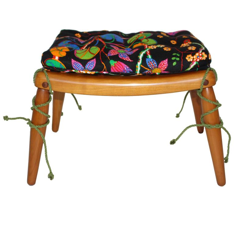 Beechwood Ottoman with Multicolored Cushion by Anna-Lülja Praun, circa 1952