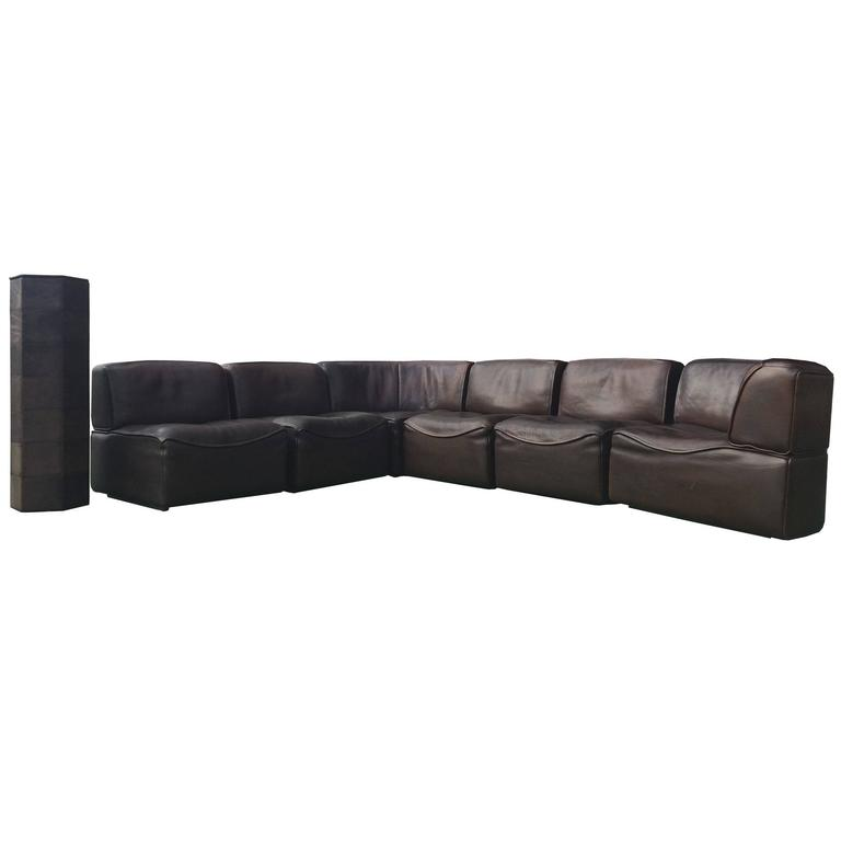 20th Century De Sede DS-15 Neck Leather Sofa, Set Of Seven 1