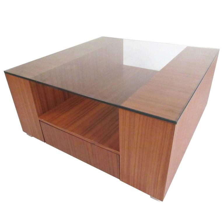 Scandinavian Modern Teak And Glass Square Coffee Table For