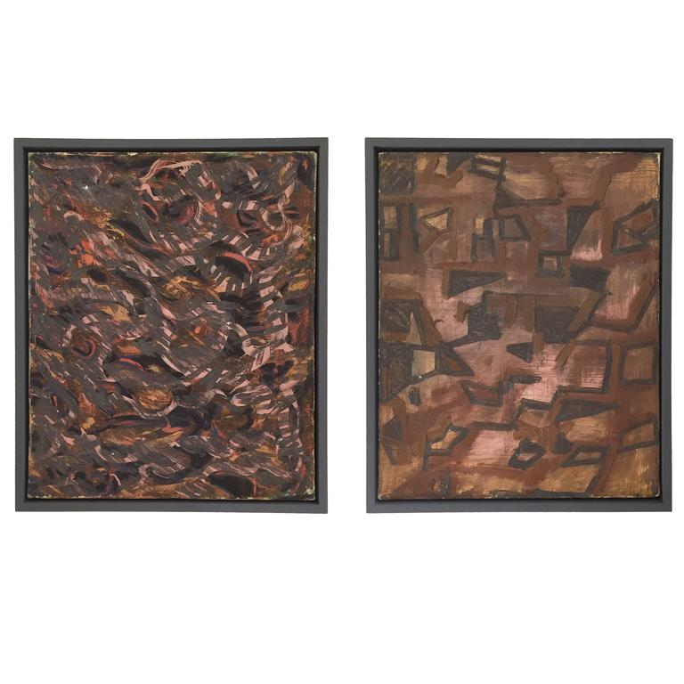 Pair of 1950s Abstract Oil Paintings