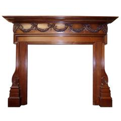 19th Century Georgian Walnut Wood Mantel Fireplace Surround