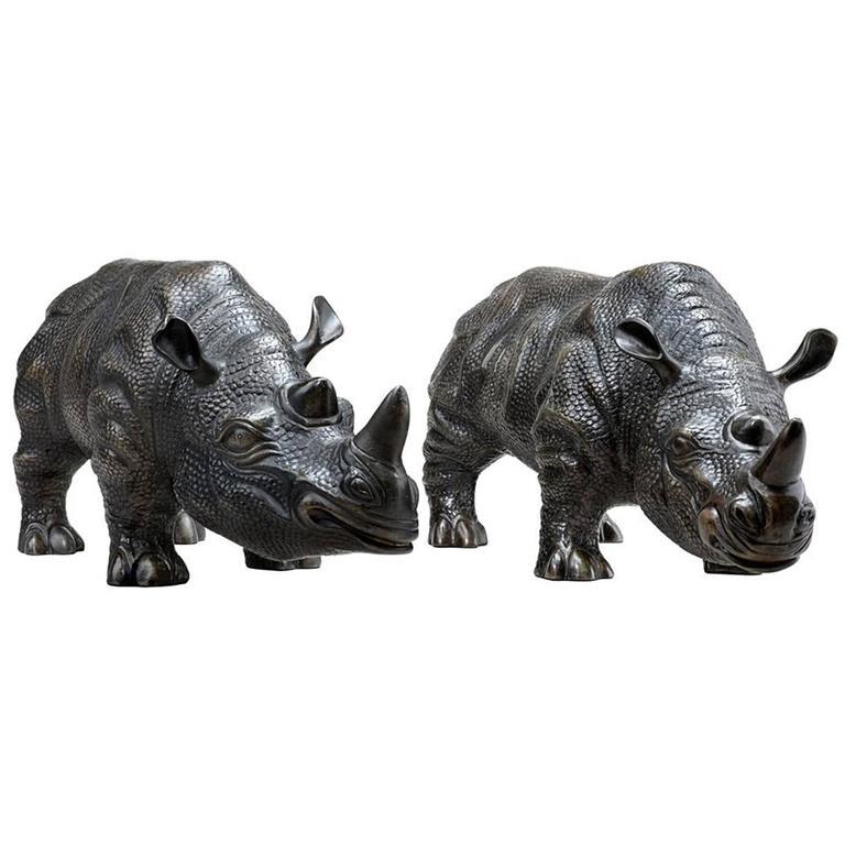 Rhino Set of Two Sculptures in Bronze