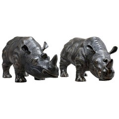 Rhino Set of Two Sculptures in Bronze