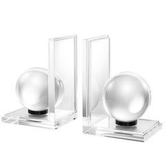 Spheres Book End Set of Two in Crystal Glass