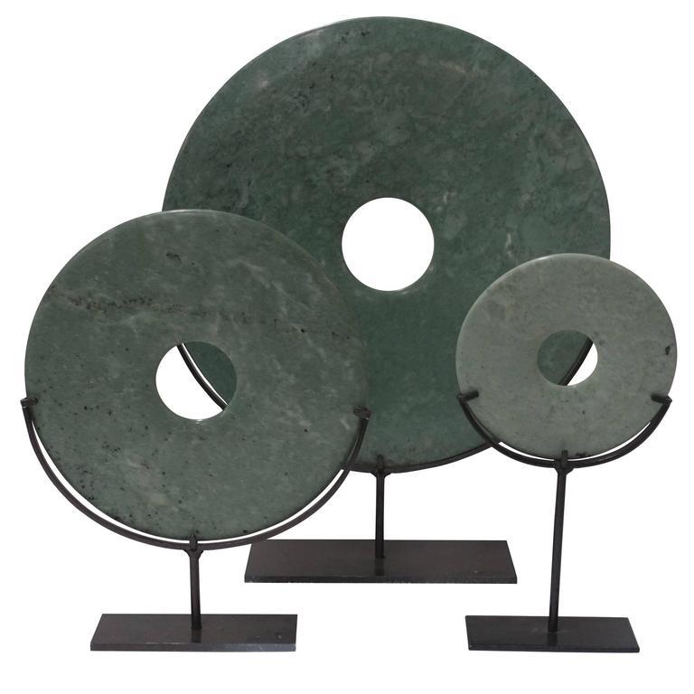 Set of Three Jade Disc Sculptures, China, Contemporary