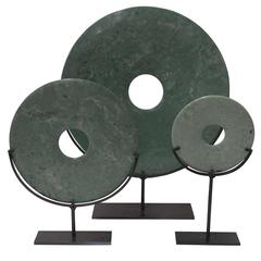 Set of Three Jade Disc Sculptures, China, Contemporary