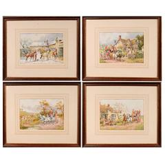 Henry Murray 'Active 1850-1860' Series of Four Fine Watercolors on Paper