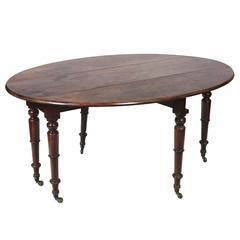 19th Century Regency Hunt Table with Turned Legs on Castors