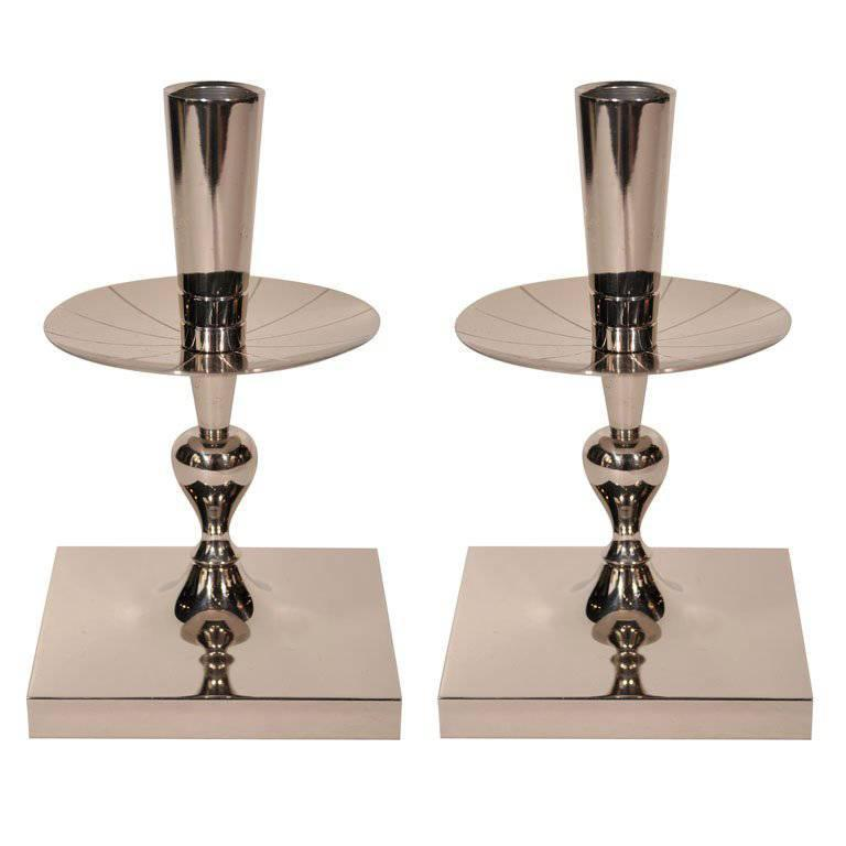 Pair of Tommi Parzinger Polished Nickel Candlesticks 1
