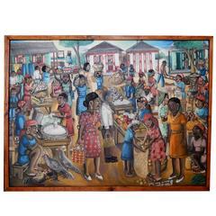 Haitian Artist Wilson Bigaud Painting -Village Scene, Market Day
