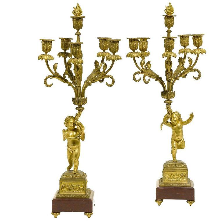 Pair of French 19th Century Louis XV Style Gilt Bronze Candelabra with Cherubs