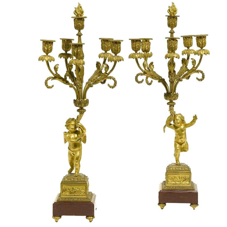 Pair of French 19th Century Louis XV Style Gilt Bronze Candelabra with Cherubs For Sale