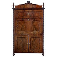 19th Century French Carved Mahogany Escritoire