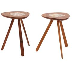 Lee Porzio & Allen Ditson Walnut and Ceramic Side Tables