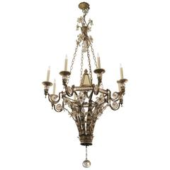 Wrought Iron and Crystal Floral Eight-Arm Mirrored Chandelier with Ball Finial
