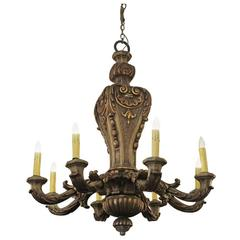 1850s Restored Ornate Eight-Arm Heavily Carved Mahogany Wood Gilded Chandelier