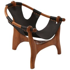 Esther Hughes Walnut and Black Leather 1970s Sling Chair