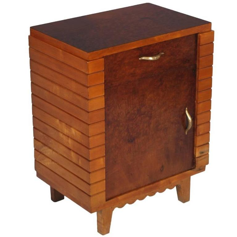 Mid century modern art deco in gio ponti manner bedside for Modern bedside tables nightstands