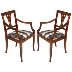 Mid-Century Pair Art Deco Chairs with Armrchairs in Solid Walnut and Burr Walnut