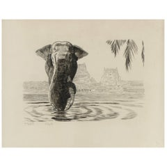 Elephant of Madura Temple, Original Etching by Paul Jouve, circa 1930