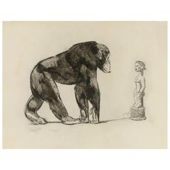 Chimpanzee in Front of Baoulé Statue, Original Etching by Paul Jouve, circa 1931