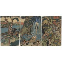 Triptych Kuniyoshi Utagawa Japanese Woodblock Print Early 19th Century, Ukiyo-e