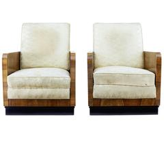 Pair of Italian 1950s Deco Inspired Walnut Armchairs