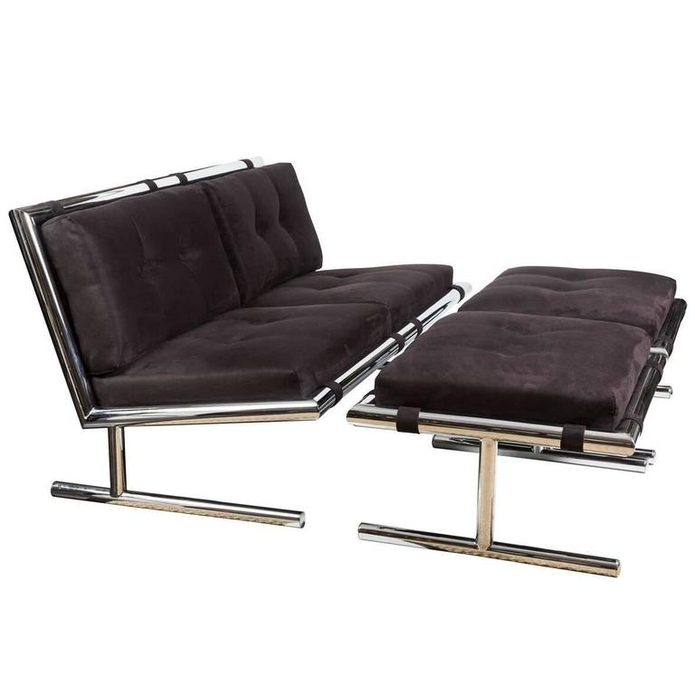 Fabulous Settee and Pair of Ottomans in Polished Chrome & Ultrasuede