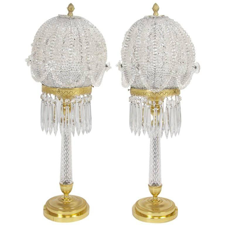 Pair of Gilt Bronze and Crystal Lamps by Jansen