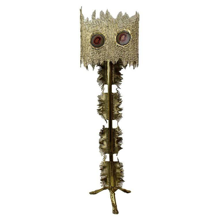 Rare French Doré Bronze and Agate Floor Lamp