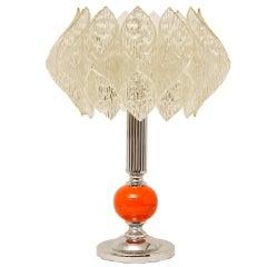 Mid-Century Table Lamp with Orange Ceramic Ball