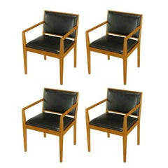 Four Interior Crafts Ash and Leather Armchairs
