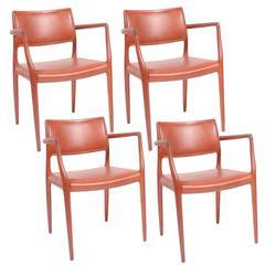 Set of Four J.L. Møller Model 80 Dining Chairs by Niels Møller in Leather